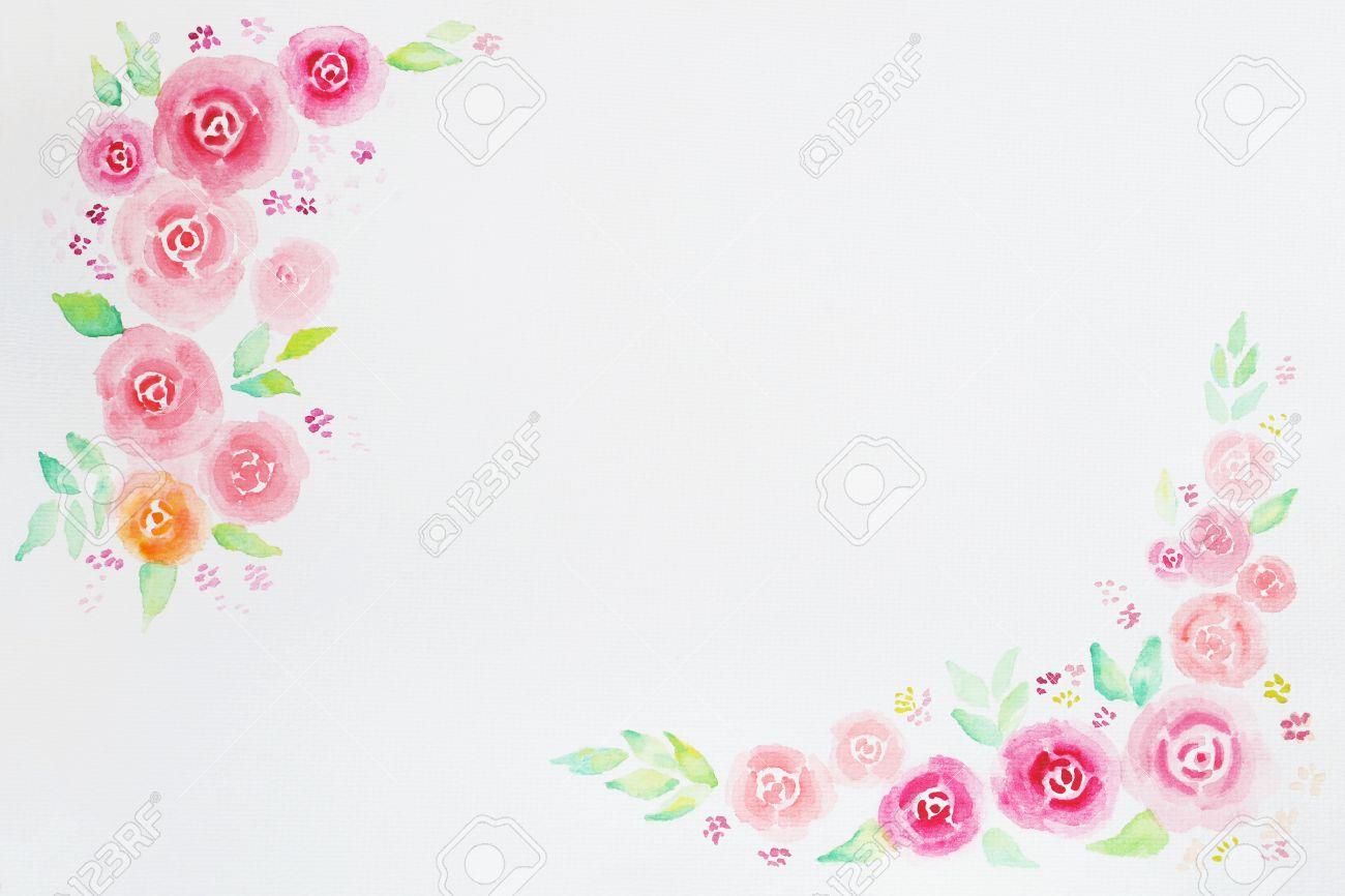 Roses Aquarelle Cadre Pour Mariage Invitation Félicitations Je Vous Remercie Jour Anniversaire Et Carte De Voeux Doux Doux Fond Daquarelle De