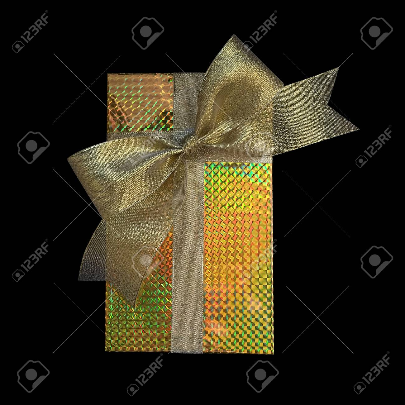 Gift box wrap and ribbon with gold foil hologram wrapping paper