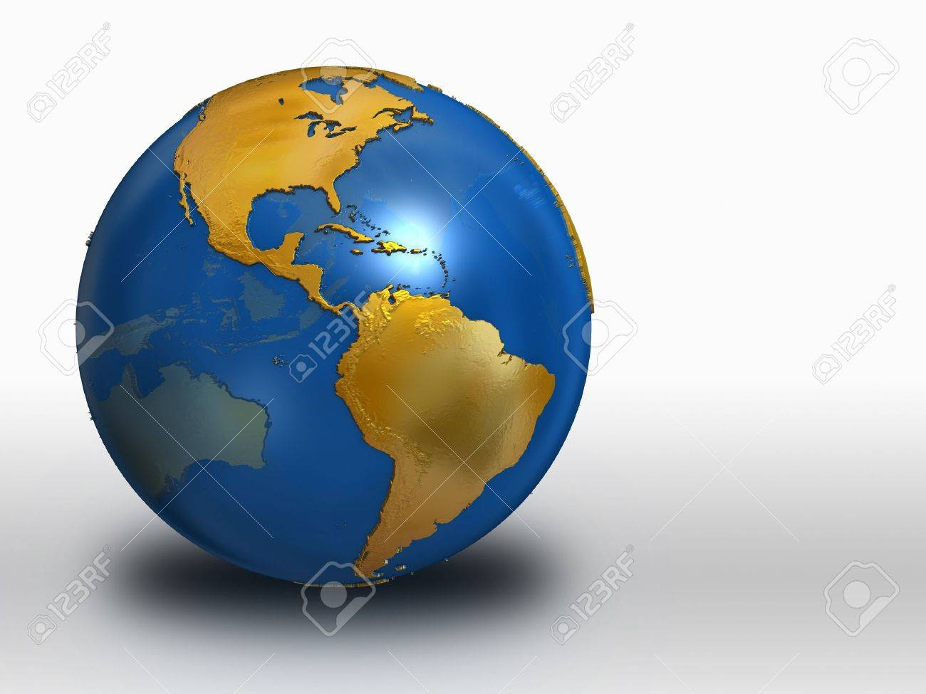 Blue and Gold Earth over white background - western hemisphere Stock Photo - 9209432