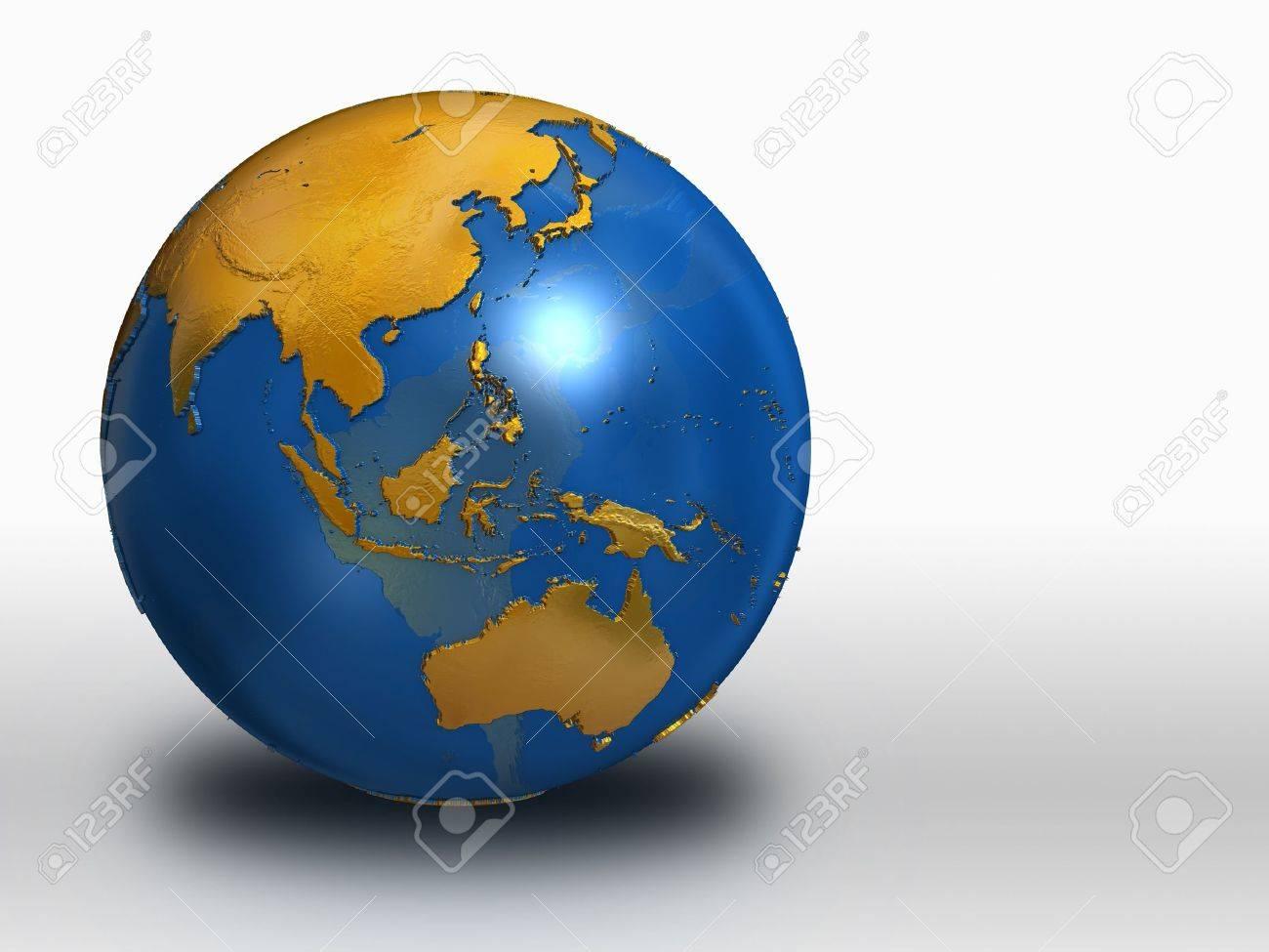 Blue and Gold Earth - Asia, Russia, Australia Stock Photo - 9209435