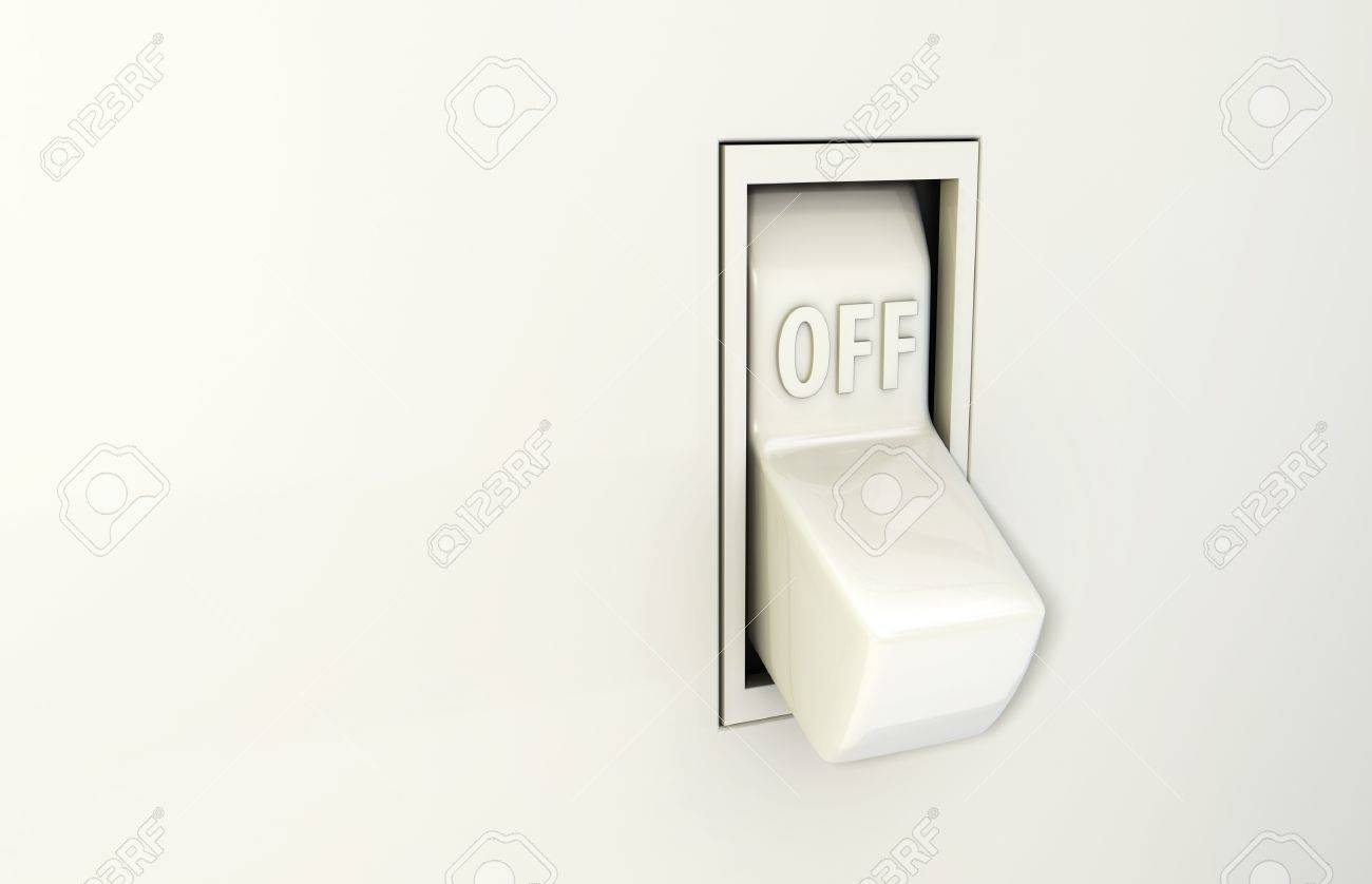 Isolated Wall Light Switch In The Off Position Stock Photo, Picture ...