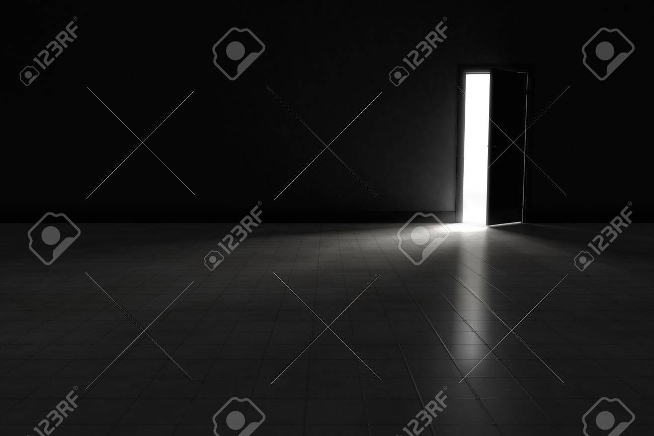 An Open Door With Bright Light Streaming Into A Very Dark Room Background Illustration
