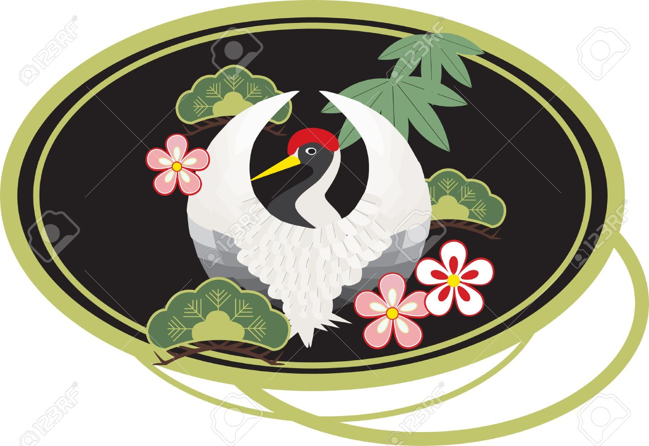 A white Japanese-style crane surrounded by Japanese symbols of good luck  plum blossoms, pine trees, and bamboo leaves Stock Vector - 14852377