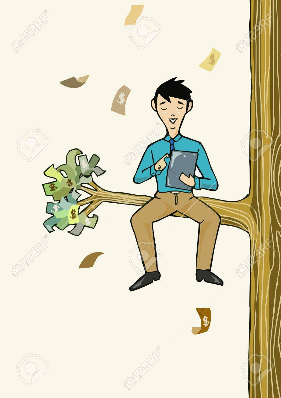 Success Businessman working with tablet sit under the money tree Stock Vector - 22136976