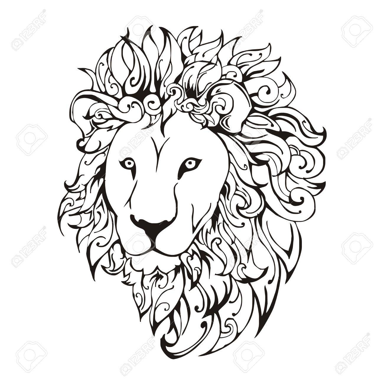 Lion Head Tattoo Vector Royalty Free Cliparts Vectors And Stock