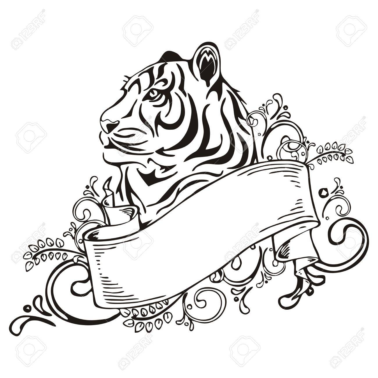 tiger with ribbon vintage sketch tattoo vector royalty free
