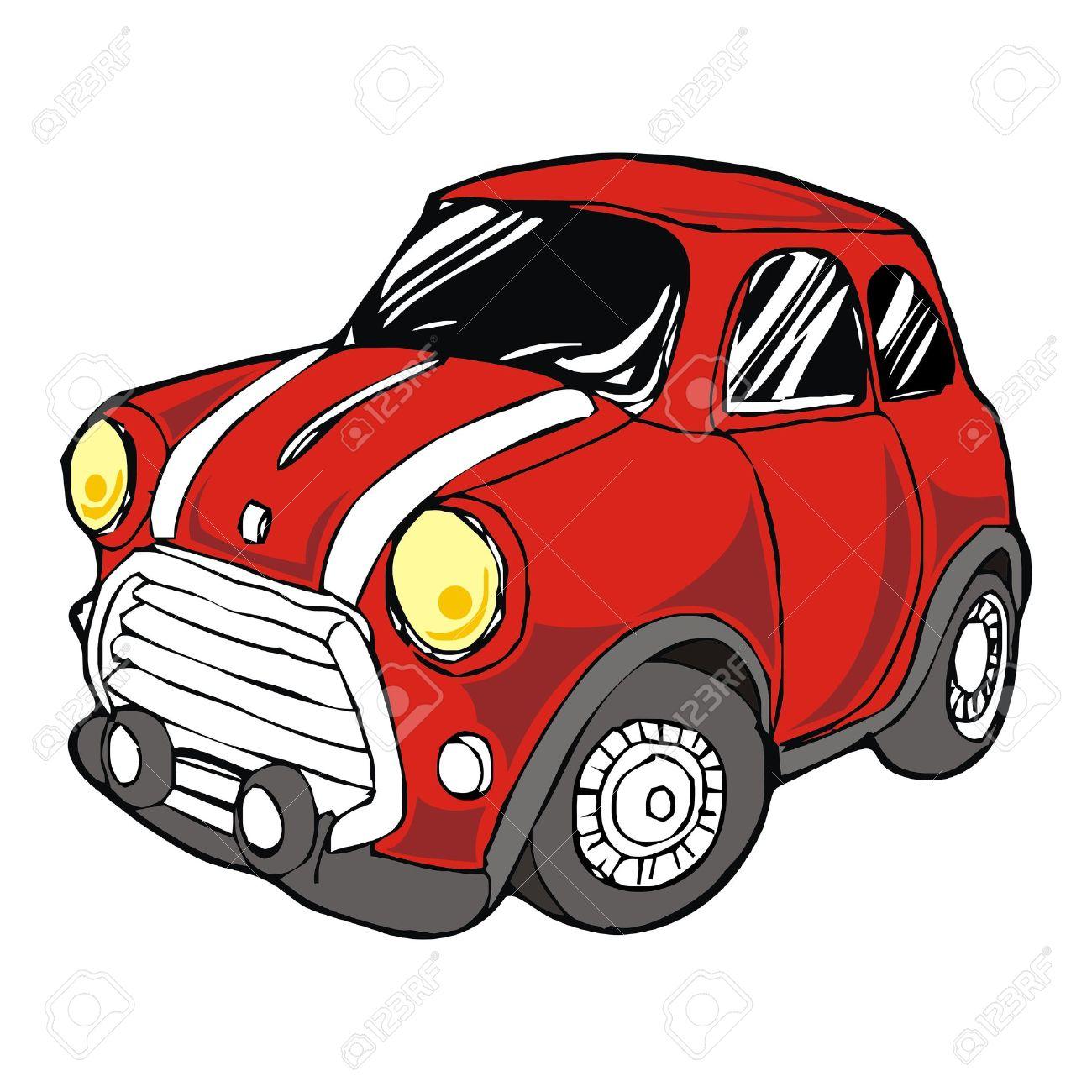 Mini Retro Red Car Cartoon Vector Royalty Free Cliparts Vectors