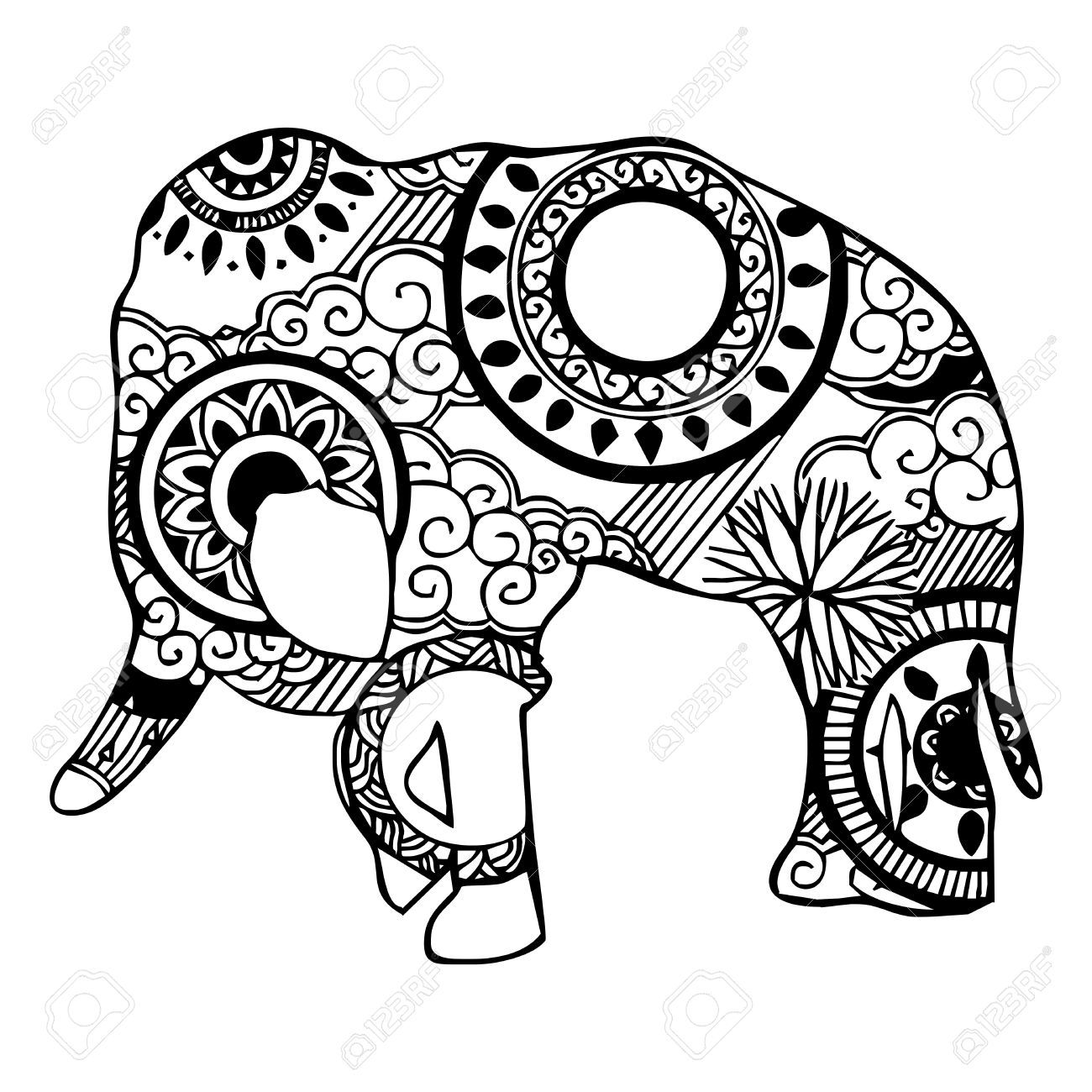 Elephant with cloud and rain ornament tattoo royalty free cliparts elephant with cloud and rain ornament tattoo stock vector 29294257 buycottarizona Images