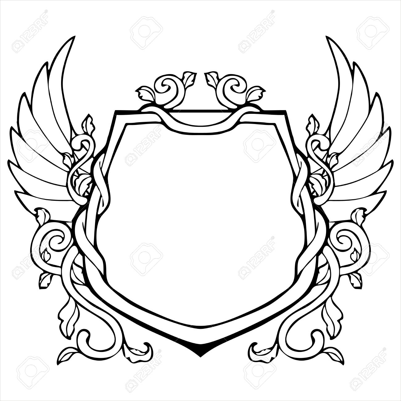 Glory Frame In Shield Shape With Wing Vintage Drawing Stock Vector