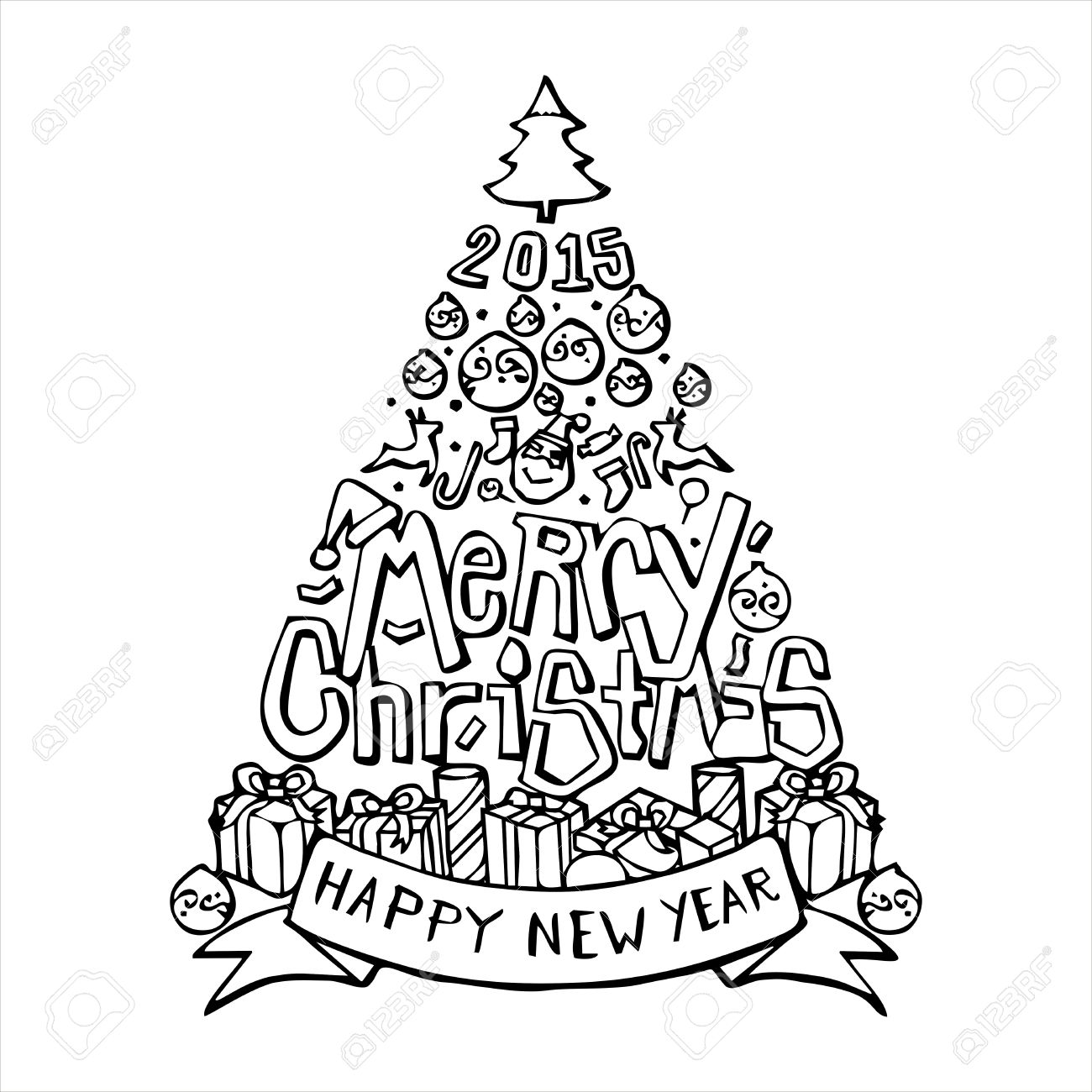 Frohe Weihnachten Baum Und Glückliches Neues Jahr 2015 Kalligraphie ...
