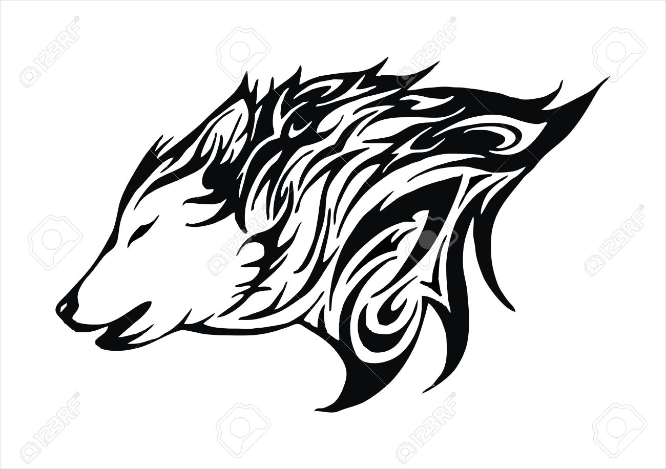 Wolf Fire Flame Head Tattoo Logo Vector Royalty Free Cliparts