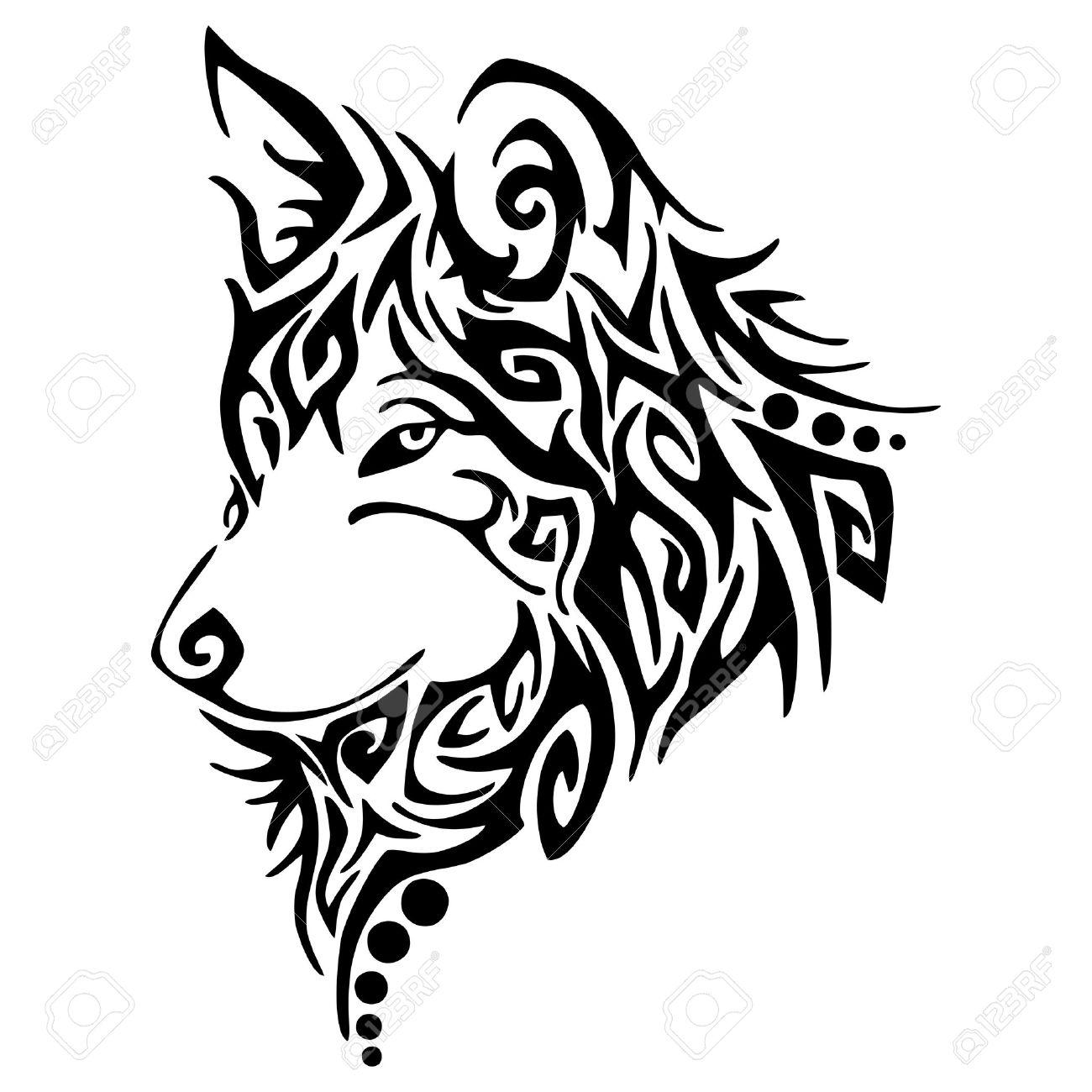 Black wolf,wolves hear tribal tattoo vector - 63695624
