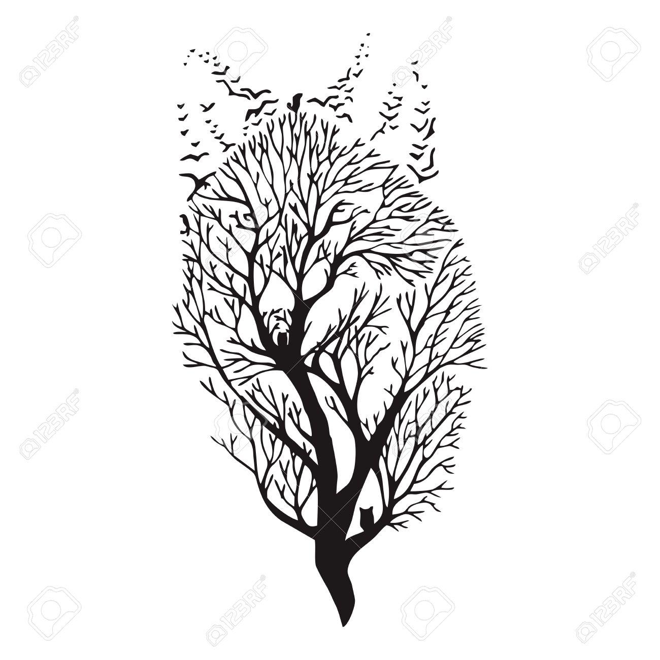 Arbre Visage De Melange Vecteur Dessin De Tatouage Loup Clip Art