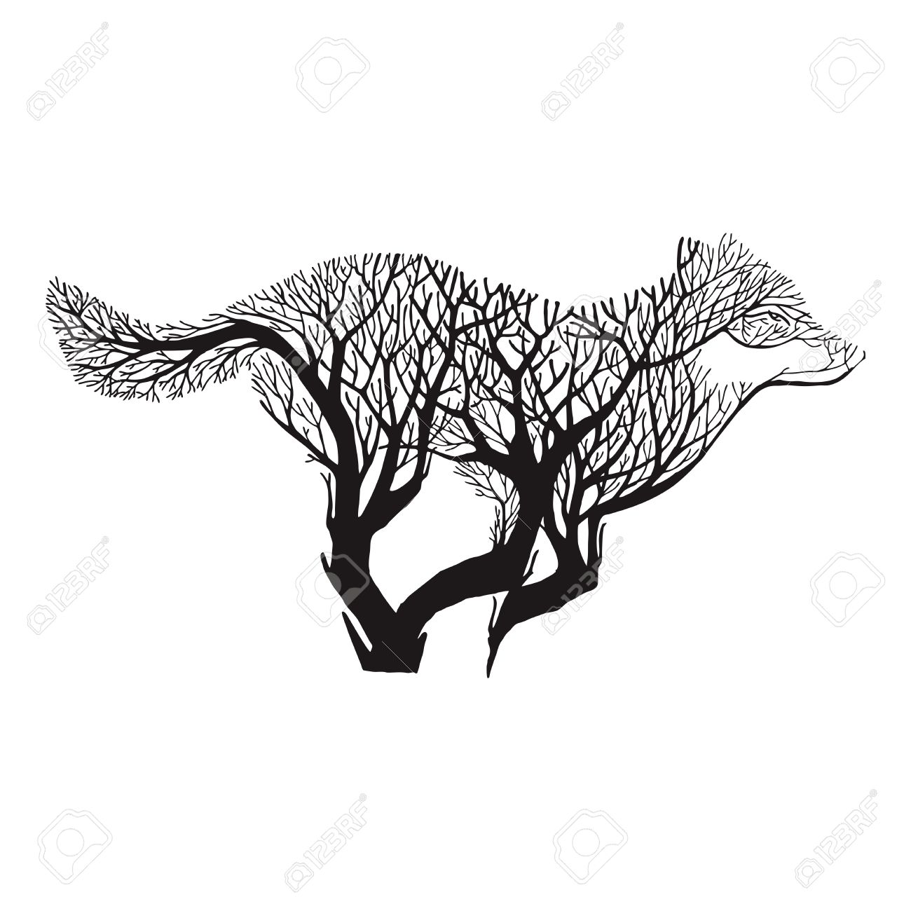 Wolf run blend tree drawing tattoo vector - 64296950