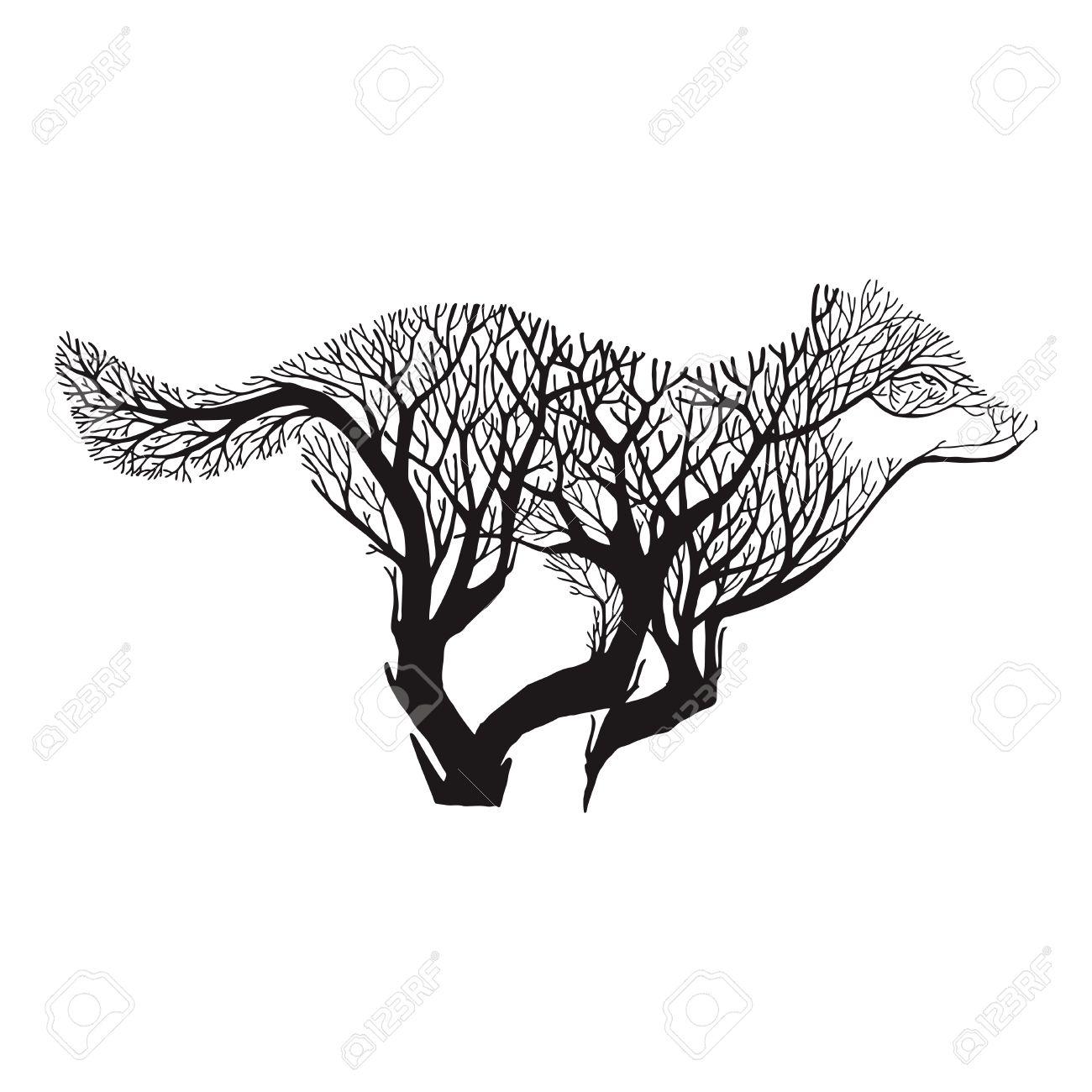 Lobo árbol De Ejecución Mezcla De Dibujo Vectorial Tatuaje