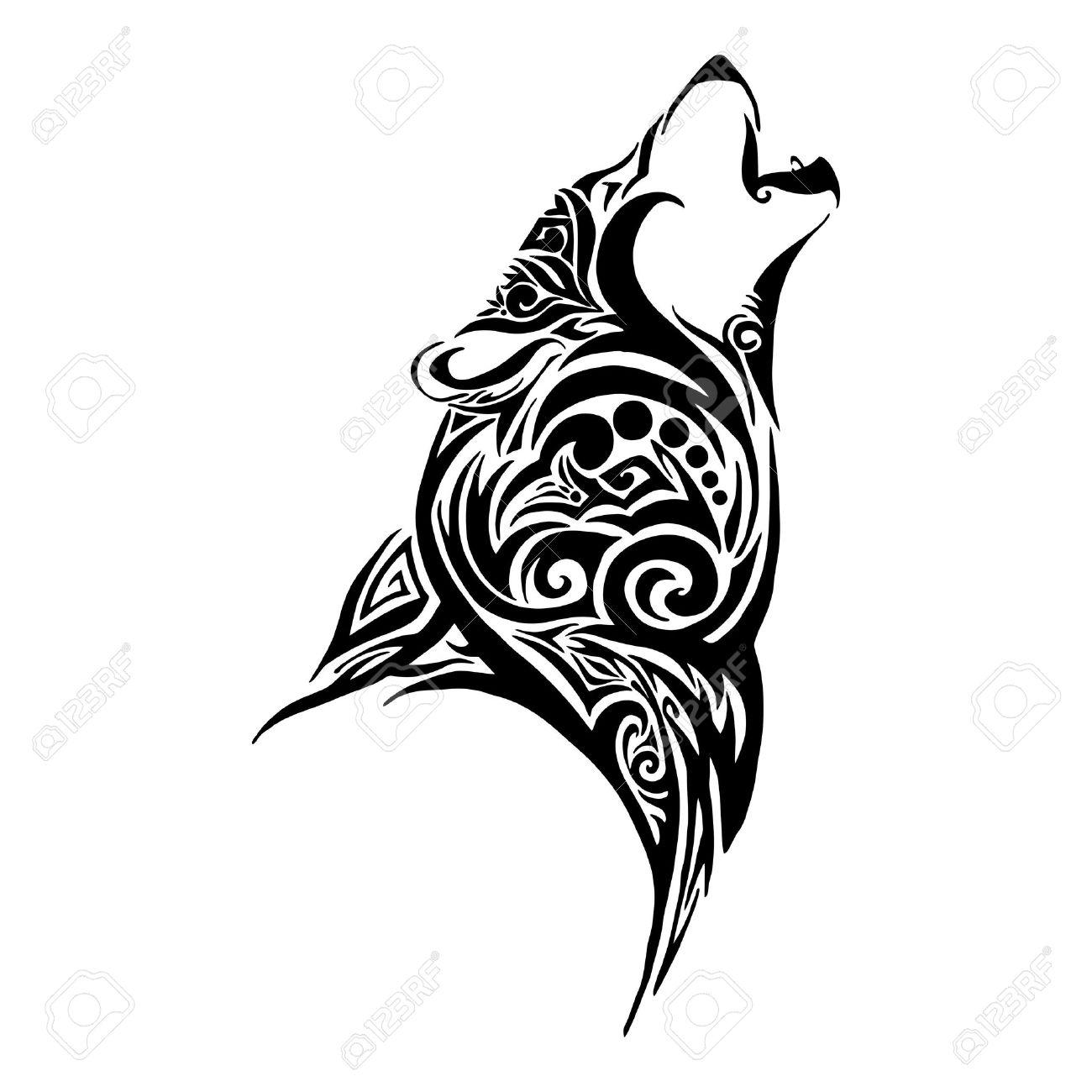 Loup Conception Tete De Hurler Pour Le Vecteur De Tatouage Tribal