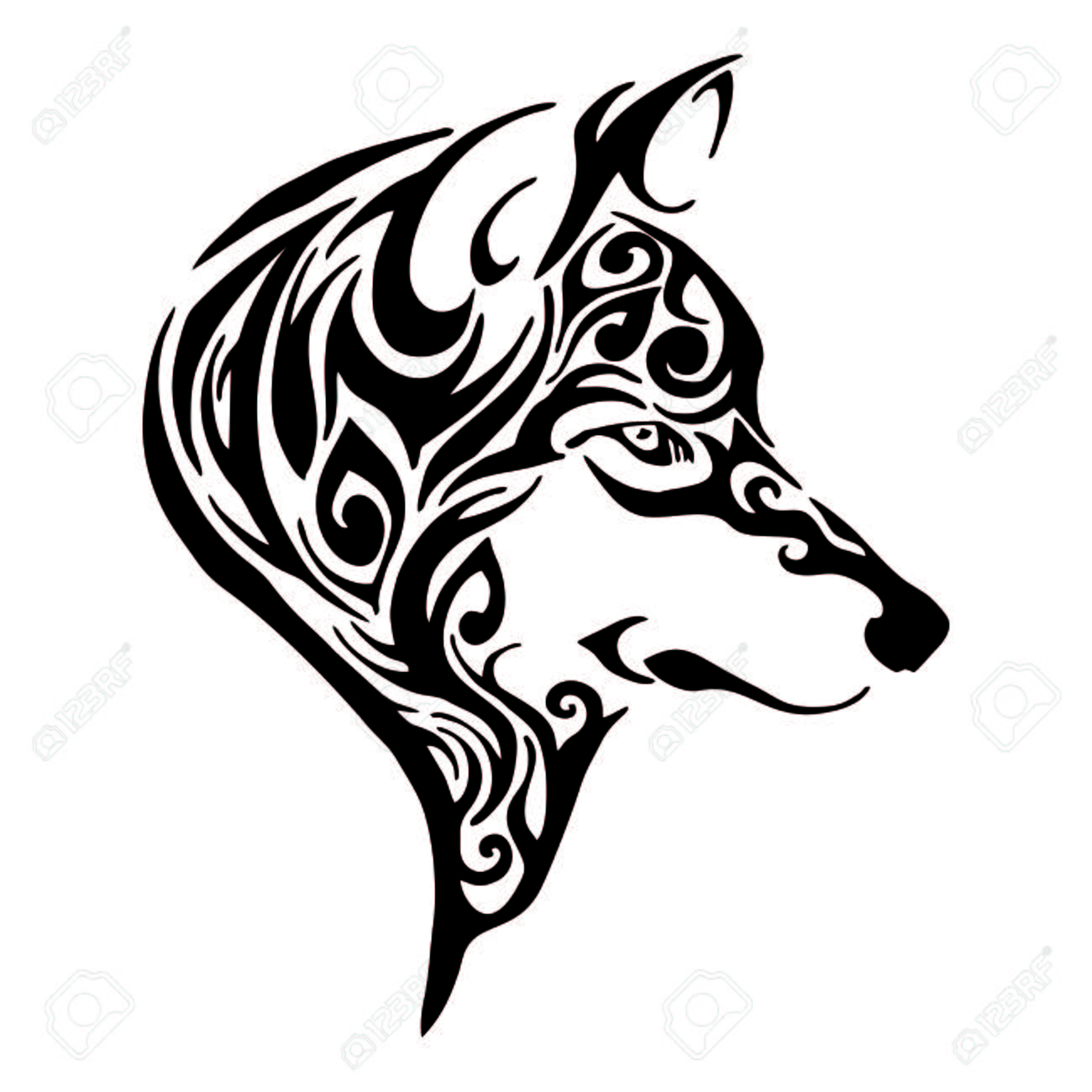 wolf head tribal tattoo sketch drawing isolated - 66538522