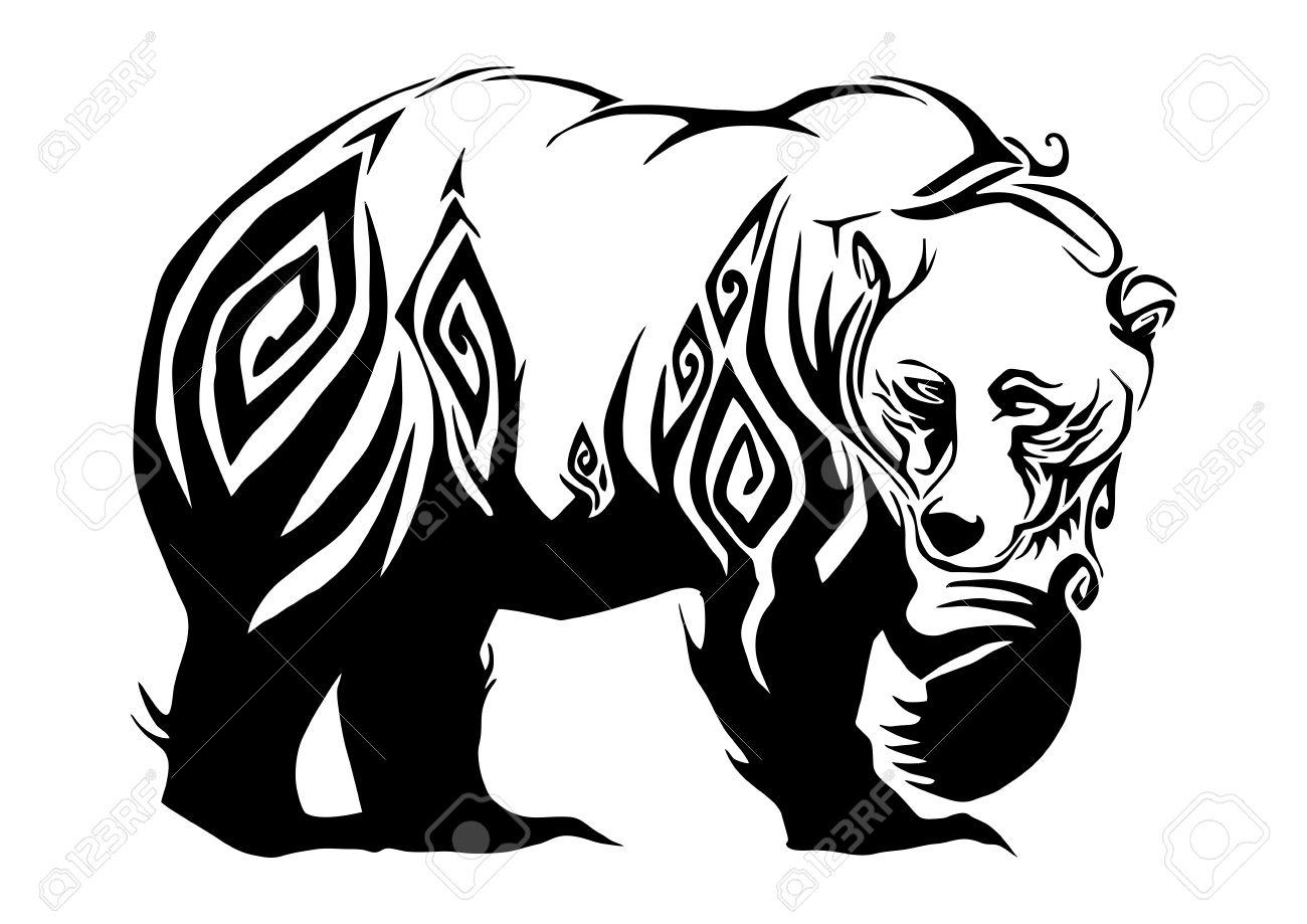 Silhouette Ferocious Bear Walking Tribal Design For Tribal Tattoo