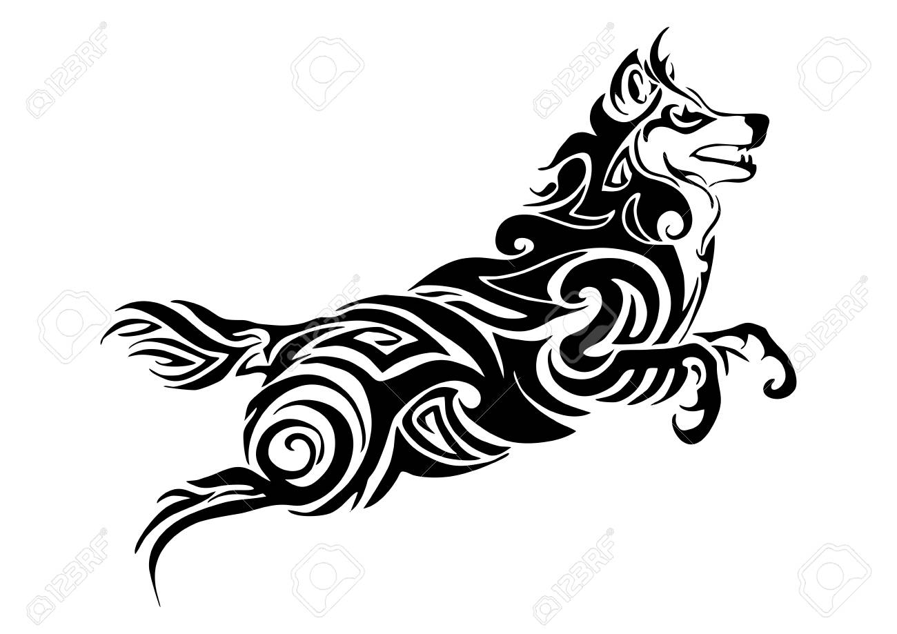 Leader Wolf Jumping Tribal Tattoo Silhouette Isolate Vector Royalty Free Cliparts Vectors And Stock Illustration Image 80786864