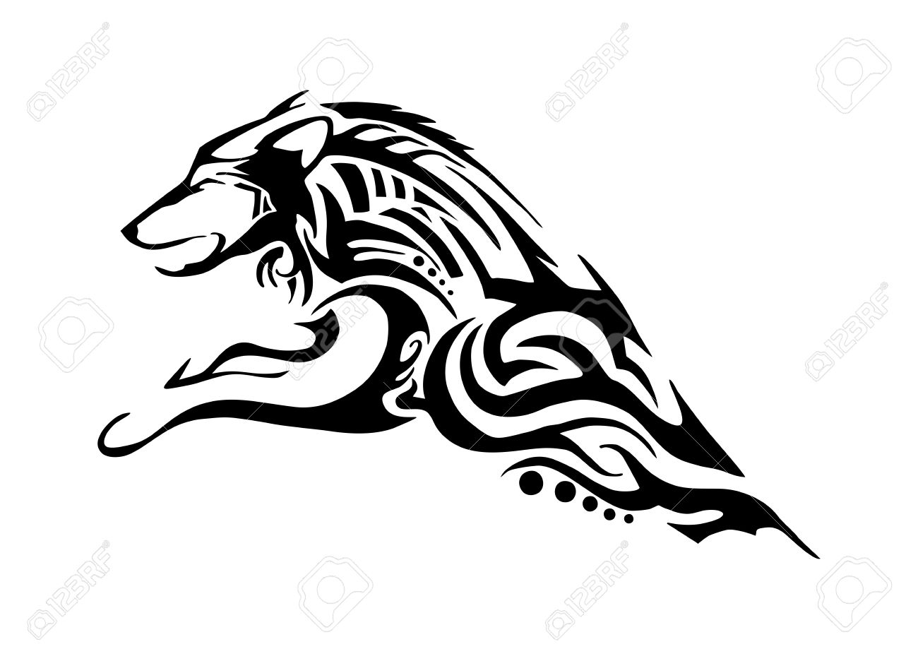 Half Body Of Aggressive Wolf Jumping Tribal Tattoo Silhouette