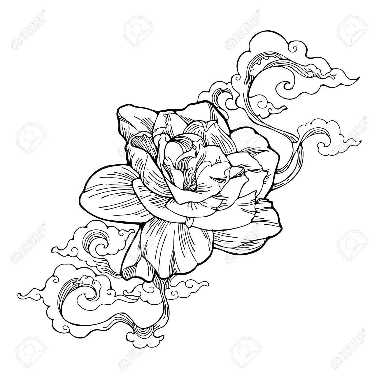 Cape jasmine gardenia jasmine and aroma cloud design by ink cape jasmine gardenia jasmine and aroma cloud design by ink drawing tattoo vector with white izmirmasajfo Images