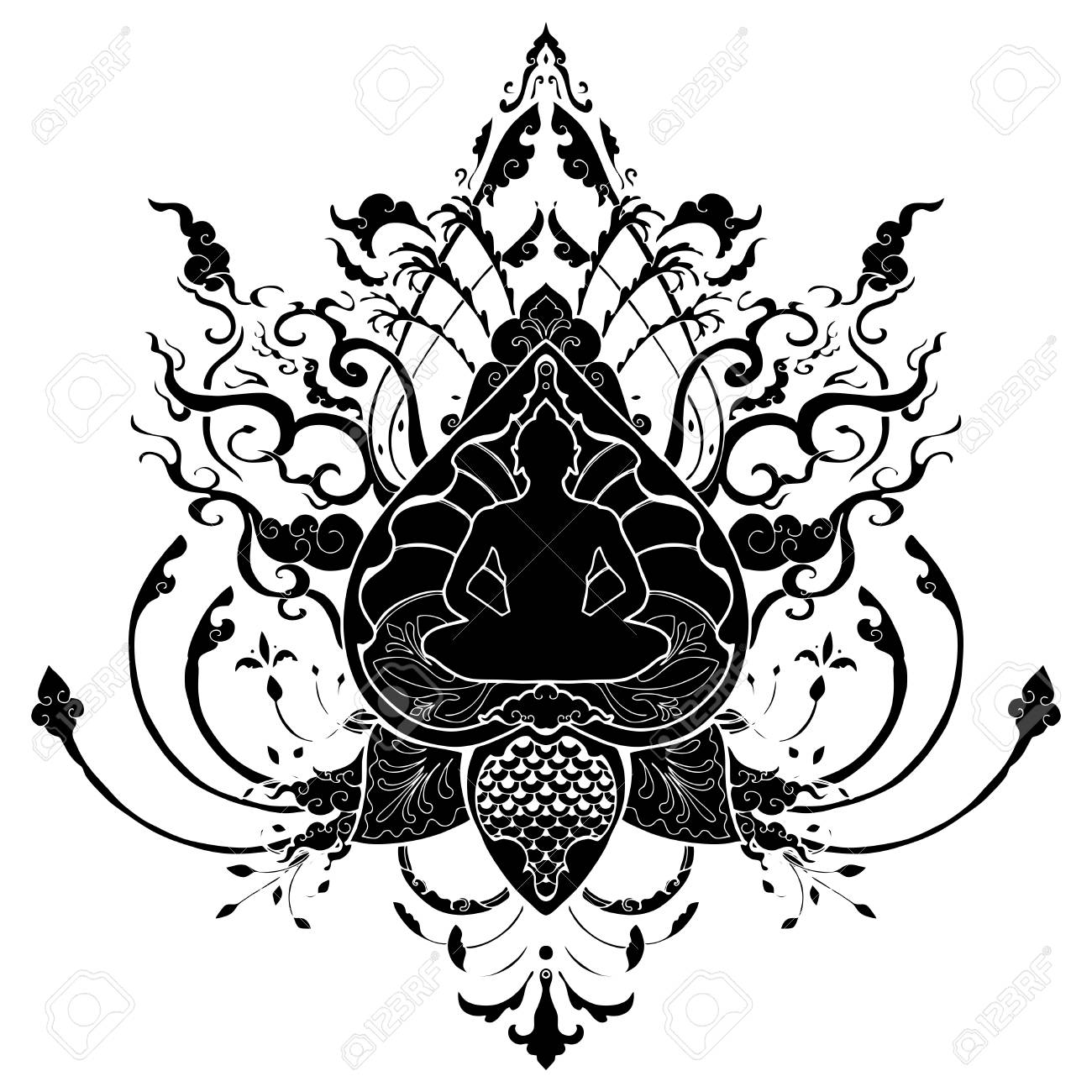 Meditación De Buda Doodle Dibujo Ilustración Con Tatuaje De Estilo ...