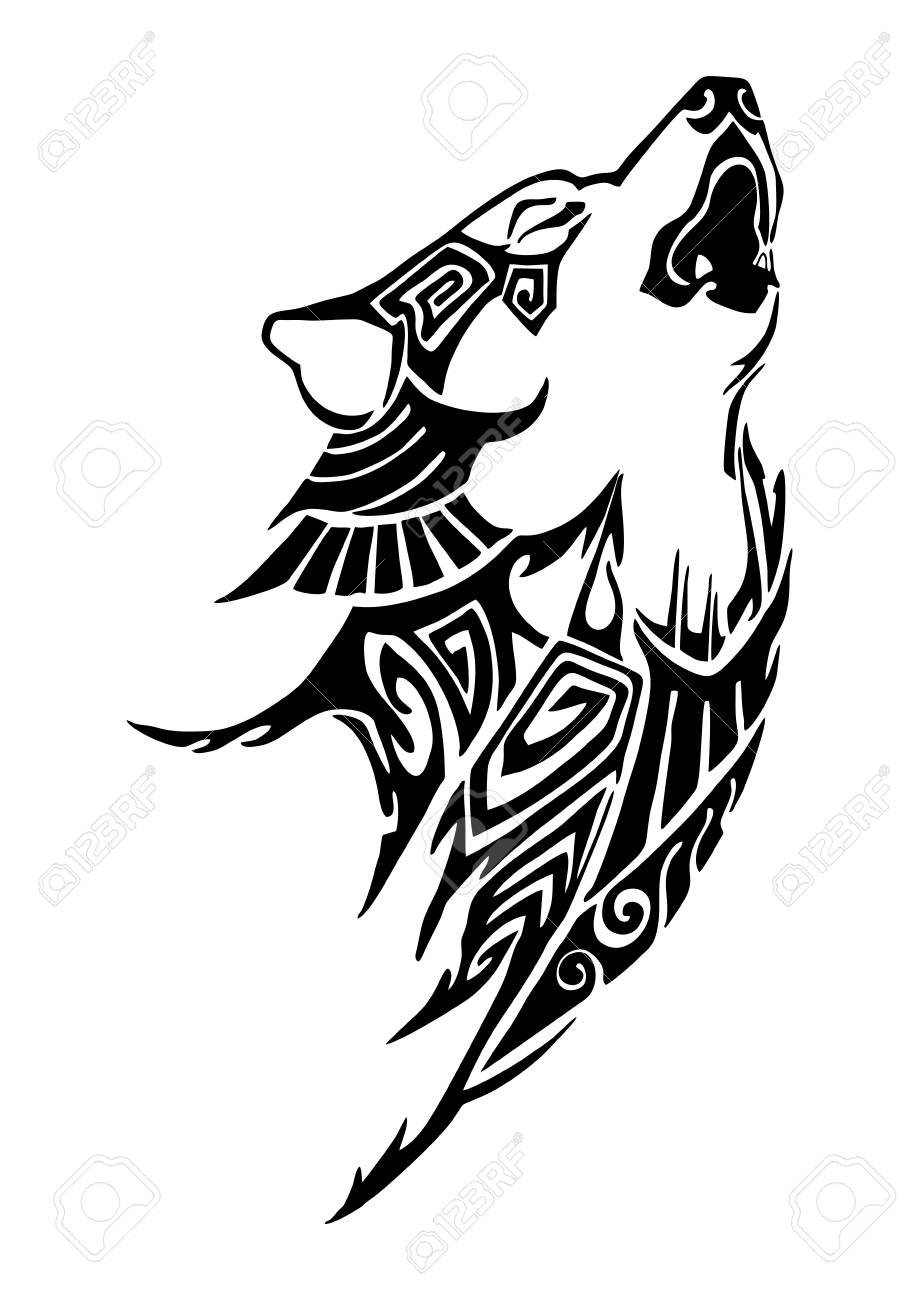 Silhouette Wolf Whine Head Tribal Tattoo Design For Arm Or Leg