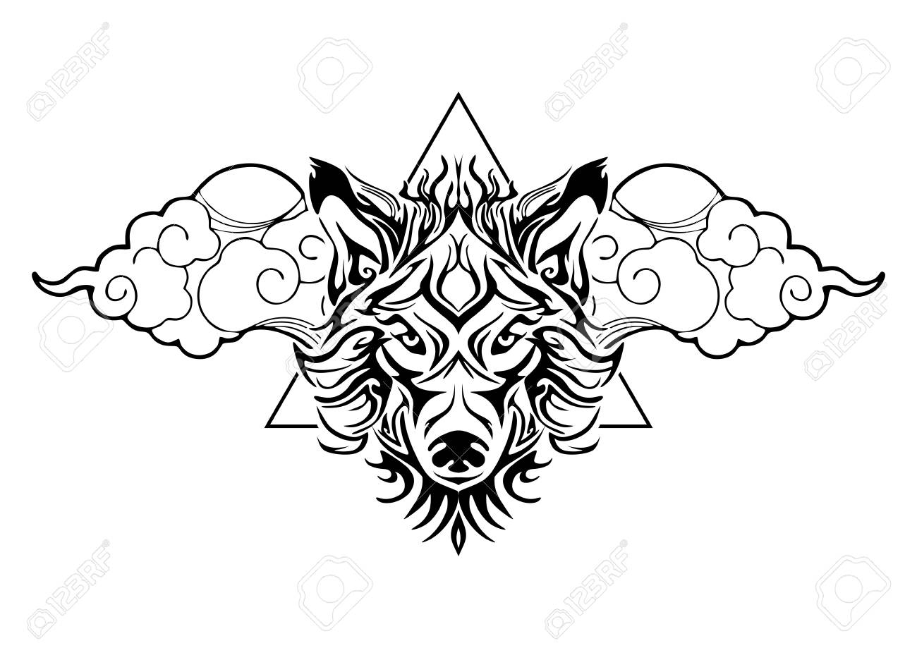 Tribal Wolf Head Tattoo Decorate With Oriental Cloud And Geometric