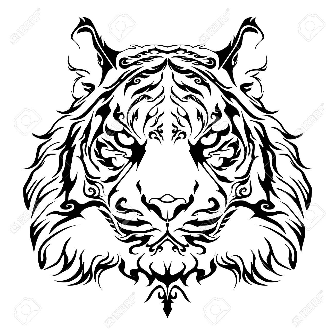 Anger Tiger Head Design For Tribal Tattoo Vector With White