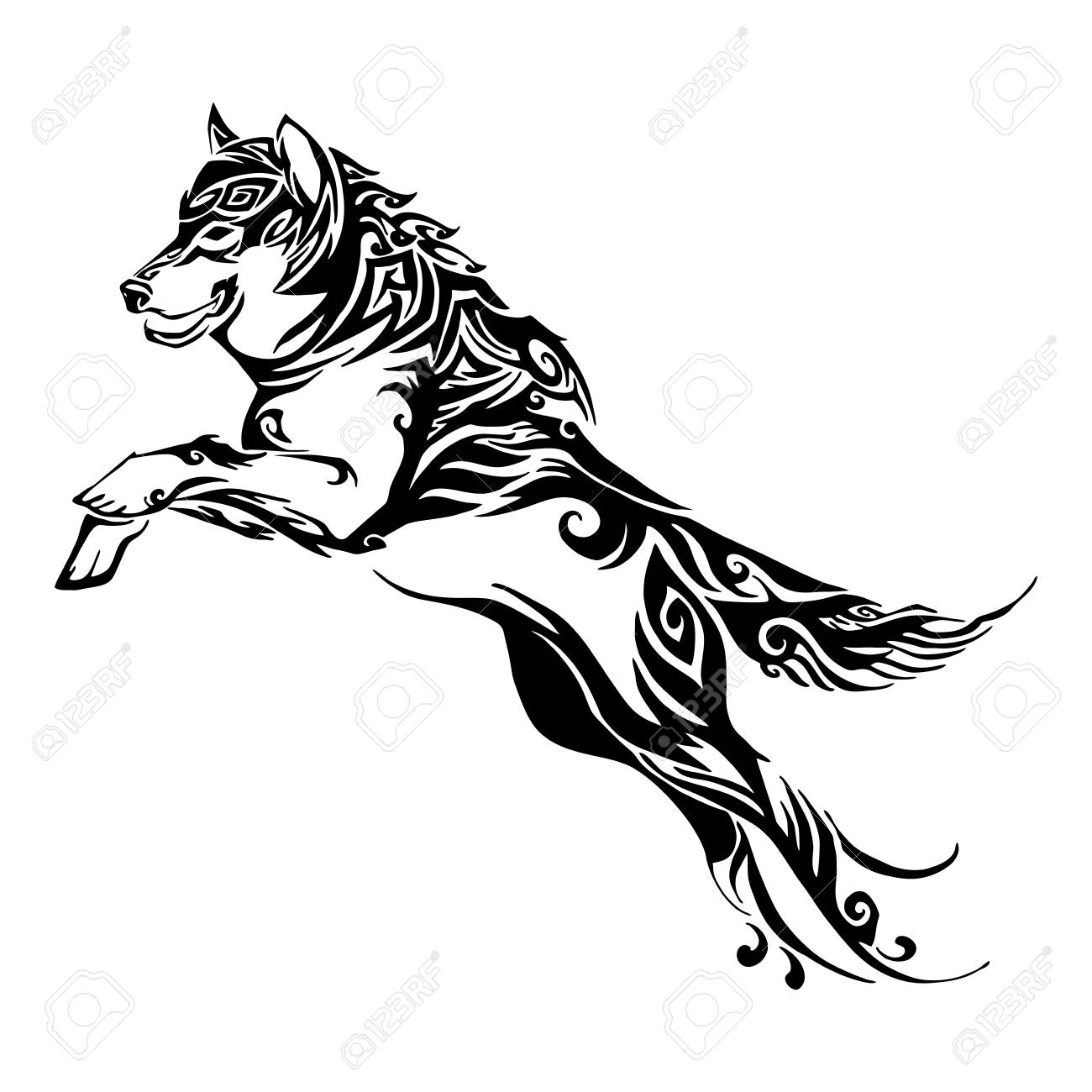Wolf Jump Design For Silhouette Tribal Tattoo Vector With White Royalty Free Cliparts Vectors And Stock Illustration Image 104430509