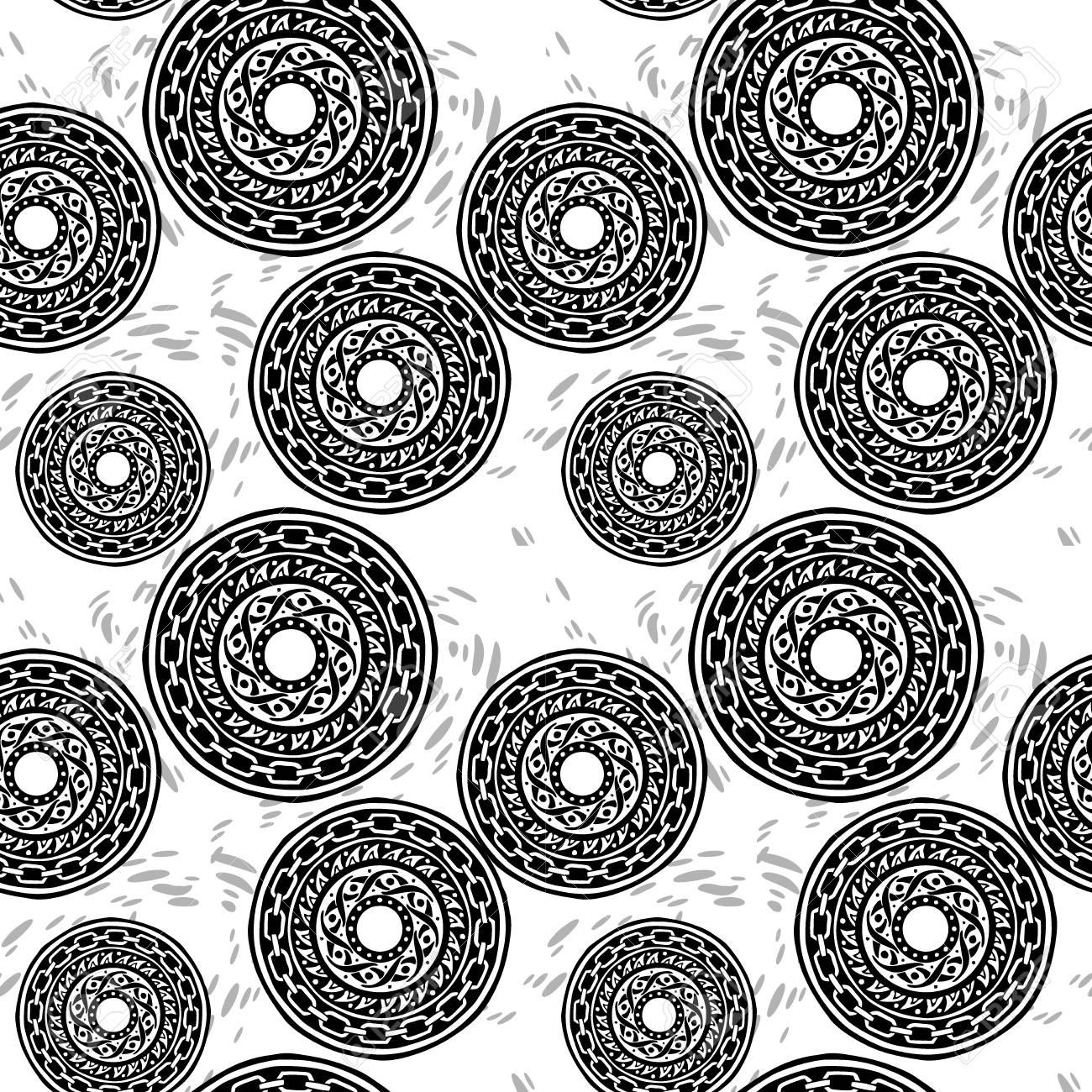 77e279f2e72f6 motif black and white barbaric circle wheel tribal chain tattoo seamless  pattern vector background Stock Vector