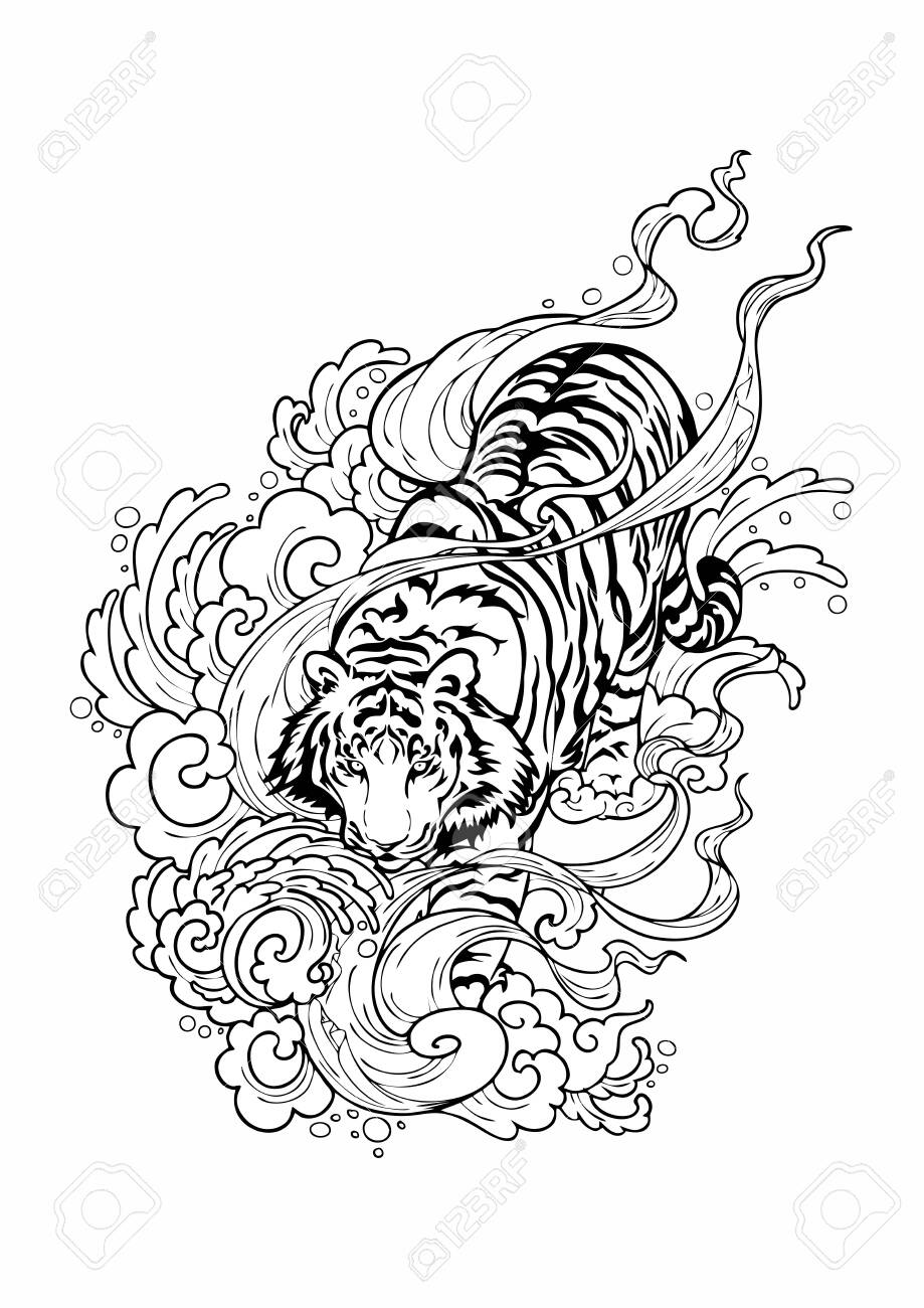 Tiger walk on cloud with windy smoke like walking on haven. doodle drawing design for Oriental Japanese or chanciness tattoo ornamental vector with white background - 130424103