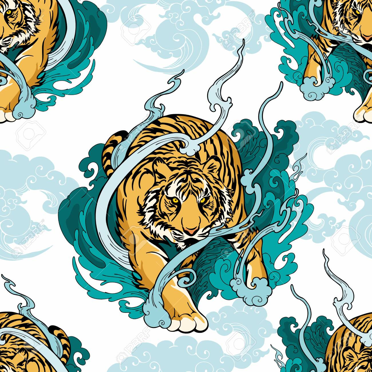 Illustration doodle and paint Tiger walking on cloud or haven Illustration doodle and paint design for seamless pattern with white background - 130424122