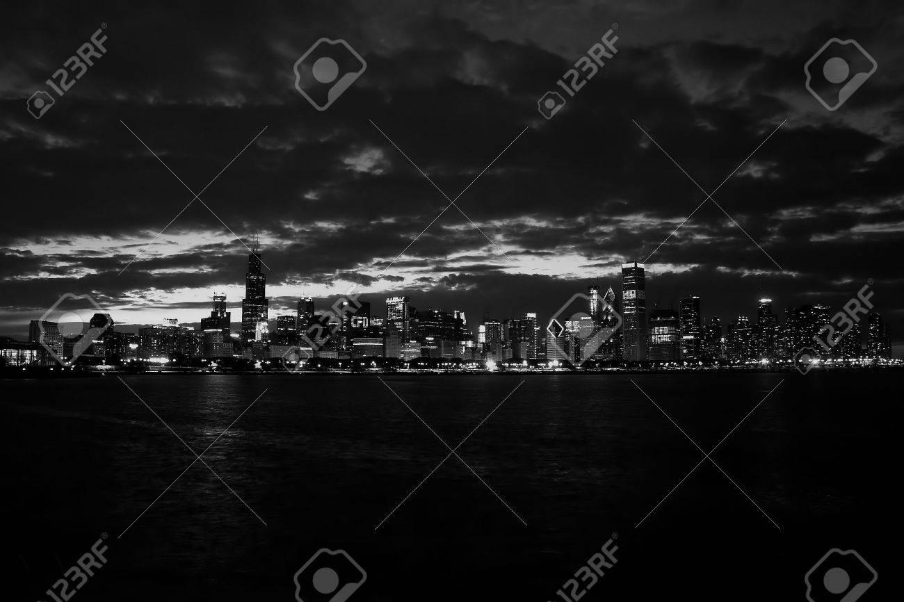 Chicago skyline night lake michigan black&white Stock Photo - 4088221