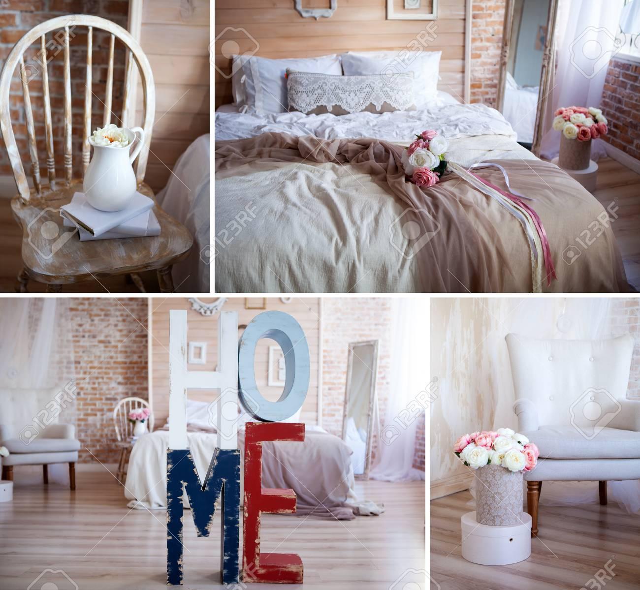Dettagli interni della camera da letto in stile rustico. Sedia beige con  baldacchino, sedia retrò con libri e una brocca decorata con fiori. Letto  con ...