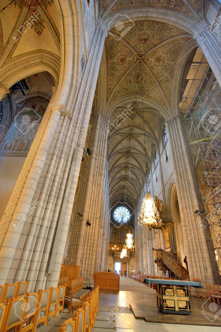 Neo Gothic Style Interior Of Uppsala Cathedral Gamla Photo Taken On