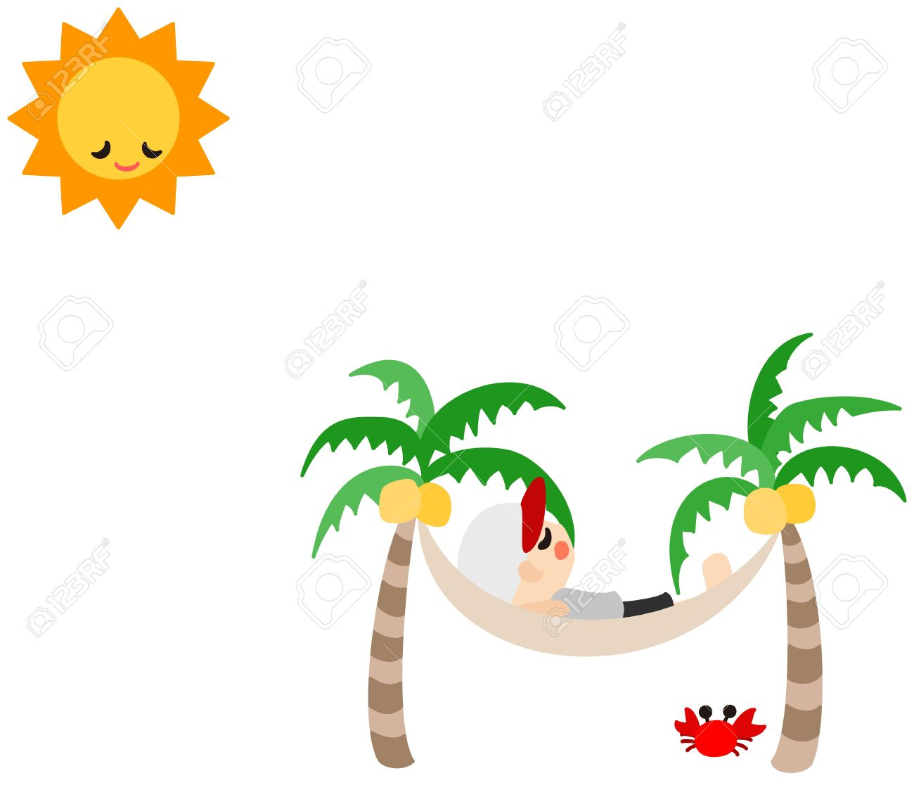 A Man Is Sleeping On The Hammock And Sun Too Stock Vector