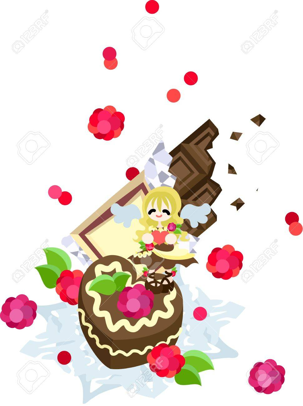 A sweet, delicious chocolate cake with full of a raspberry and the whip cream  An angel of chocolate appearing to St  Valentine s day sends it Stock Vector - 17351002