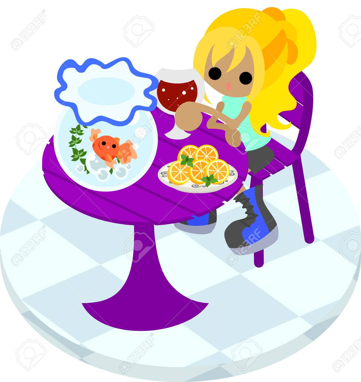 The woman who drinks juice while looking at a goldfish basin at a purple table Stock Vector - 28909133