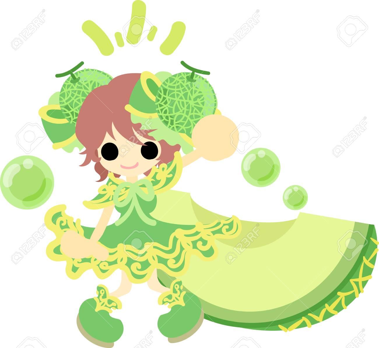メロンの服の女の子のイラストのイラスト素材ベクタ Image 55077565