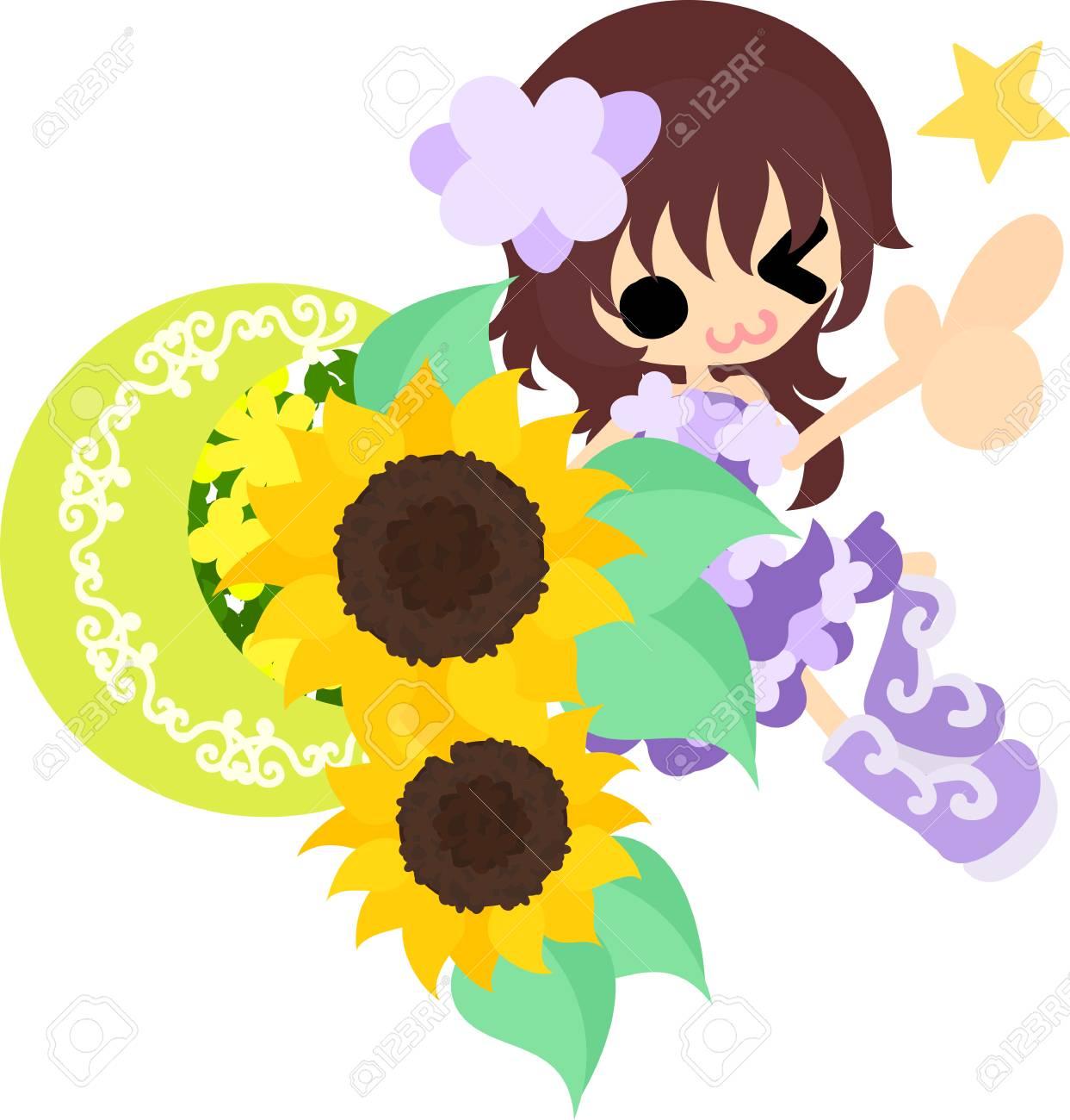 笑顔のかわいい女の子とヒマワリの植木鉢