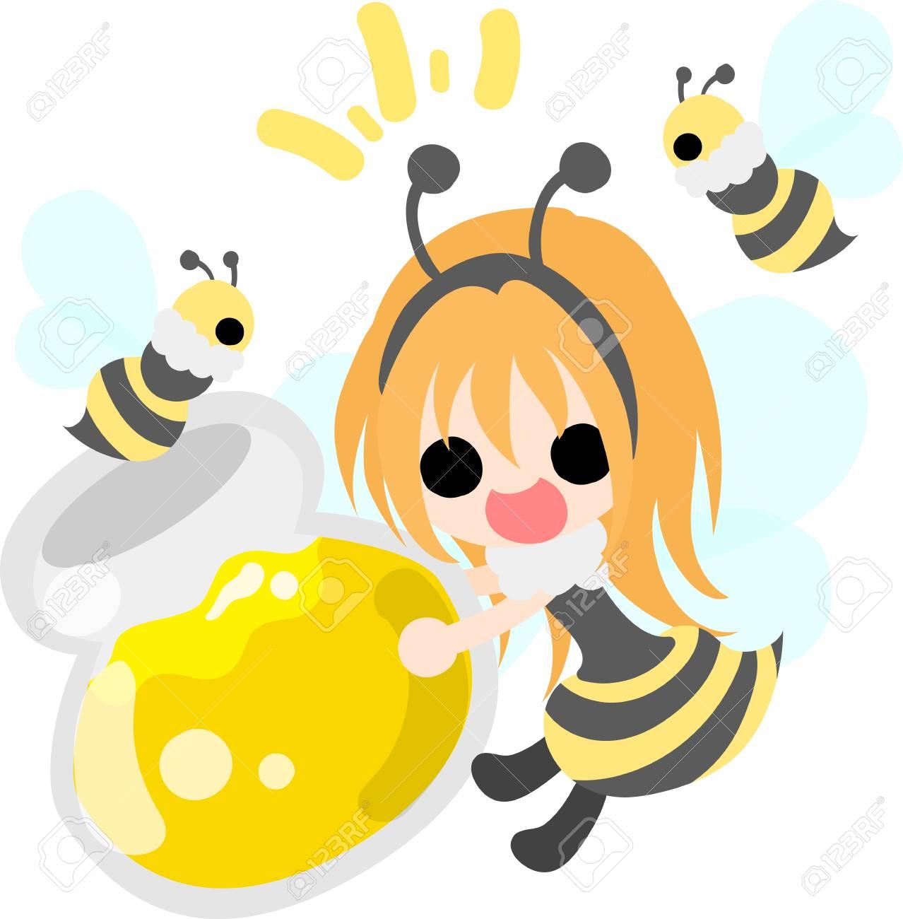 かわいい女の子とミツバチのイラストのイラスト素材 ベクタ Image