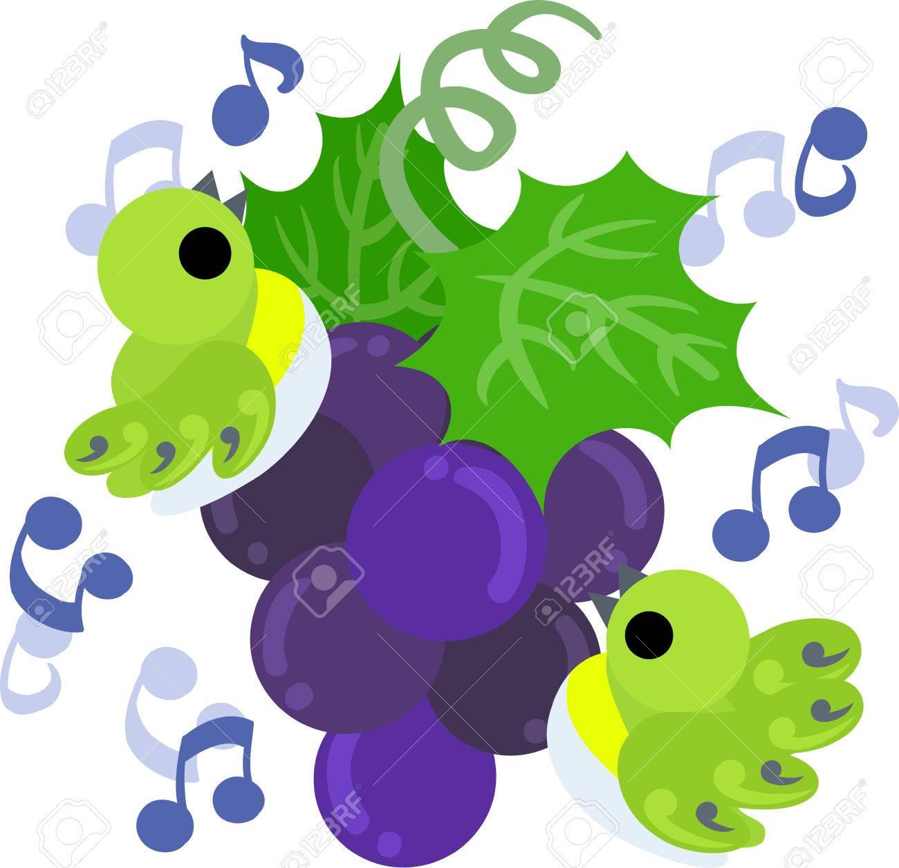 歌う小鳥とぶどうのかわいいイラストのイラスト素材ベクタ Image