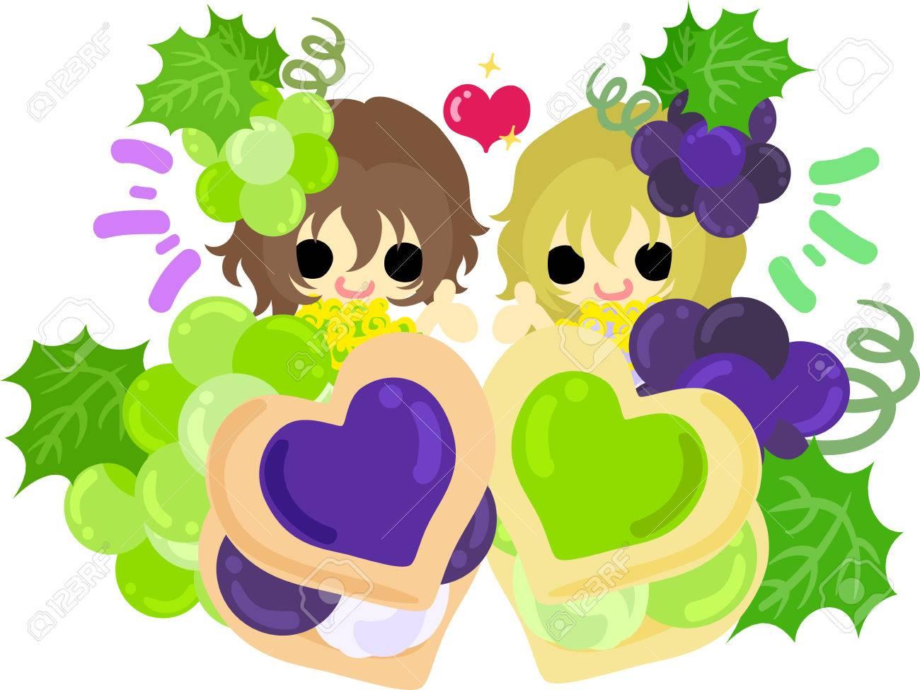 双子のかわいいイラスト少女とブドウのクッキー ロイヤリティフリー