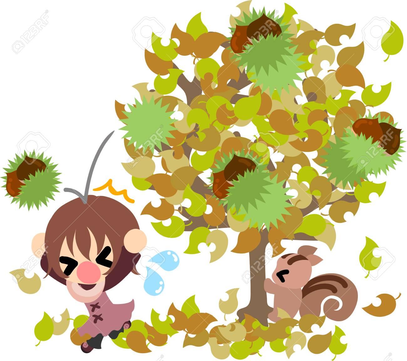 秋と少女 栗の木 のかわいいイラストのイラスト素材ベクタ Image
