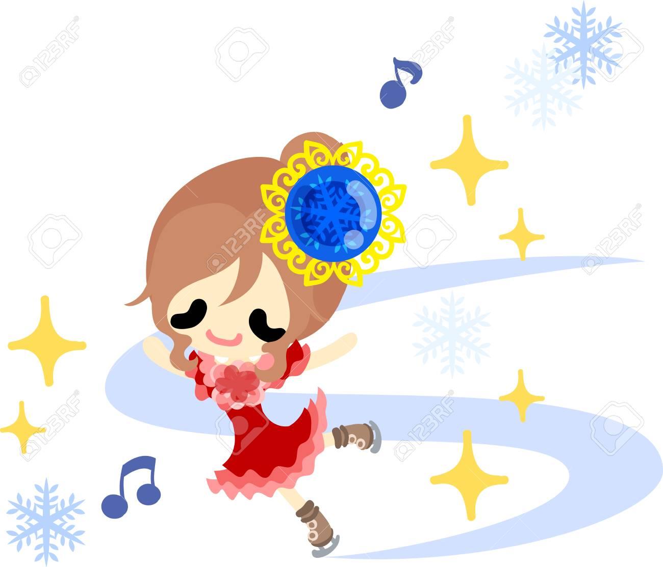 秋と冬のスケートのかわいいイラスト のイラスト素材ベクタ Image