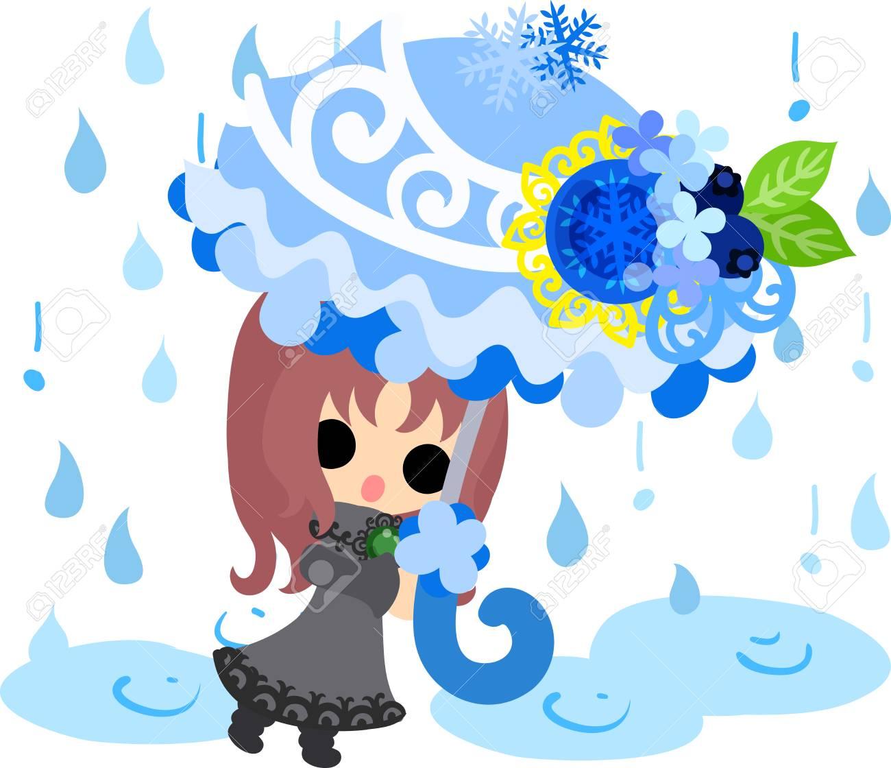 冬と女の子冬雨 のかわいいイラストのイラスト素材ベクタ Image