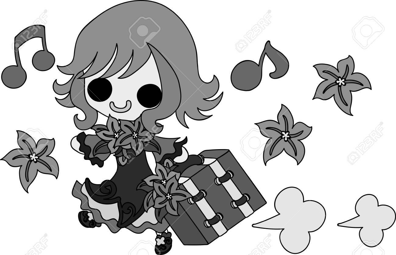 スタイリッシュな女の子と飾りのイラストのイラスト素材ベクタ Image