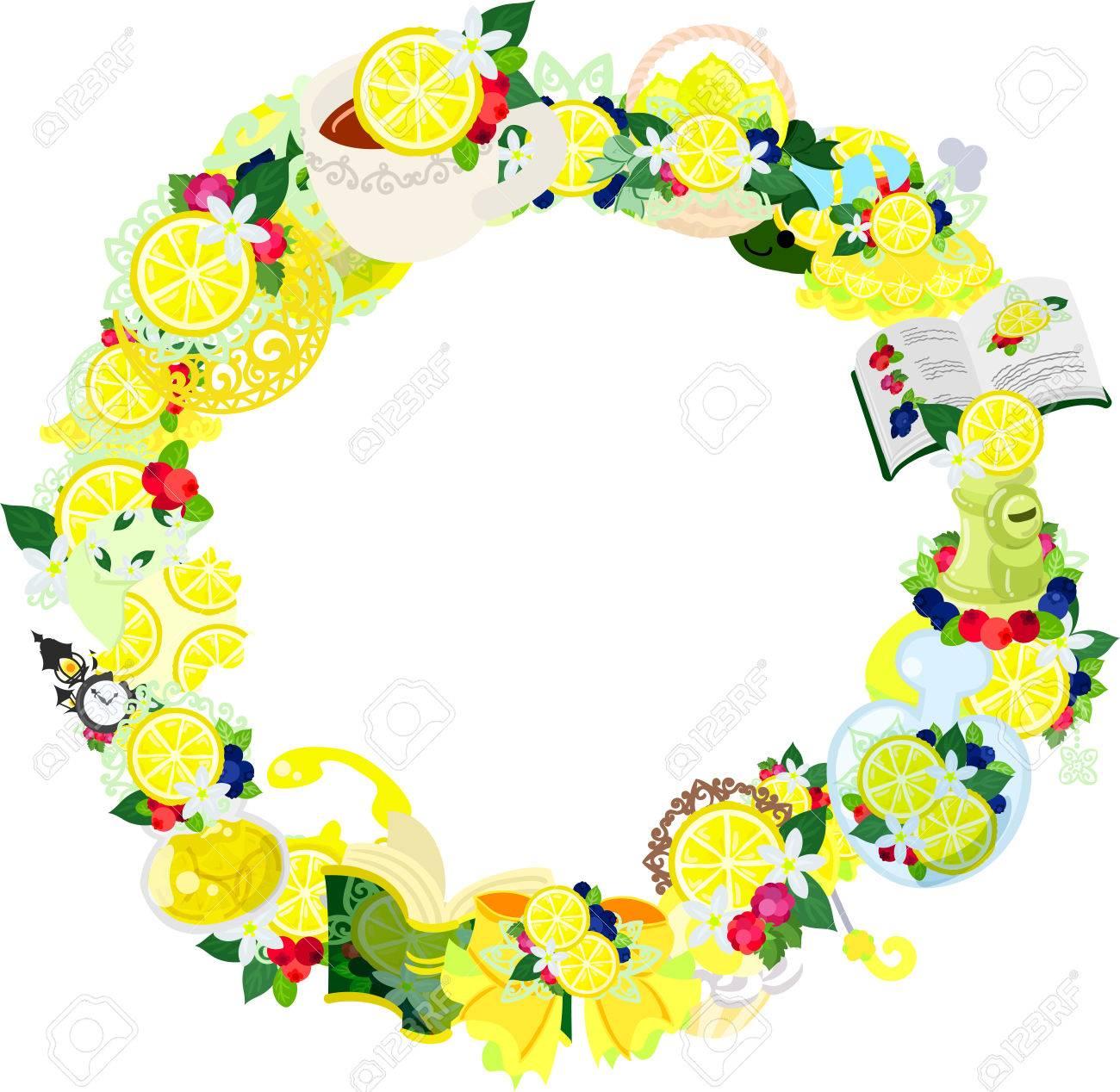 レモンの様々 な雑貨を作られているフレーム ロイヤリティフリークリップ