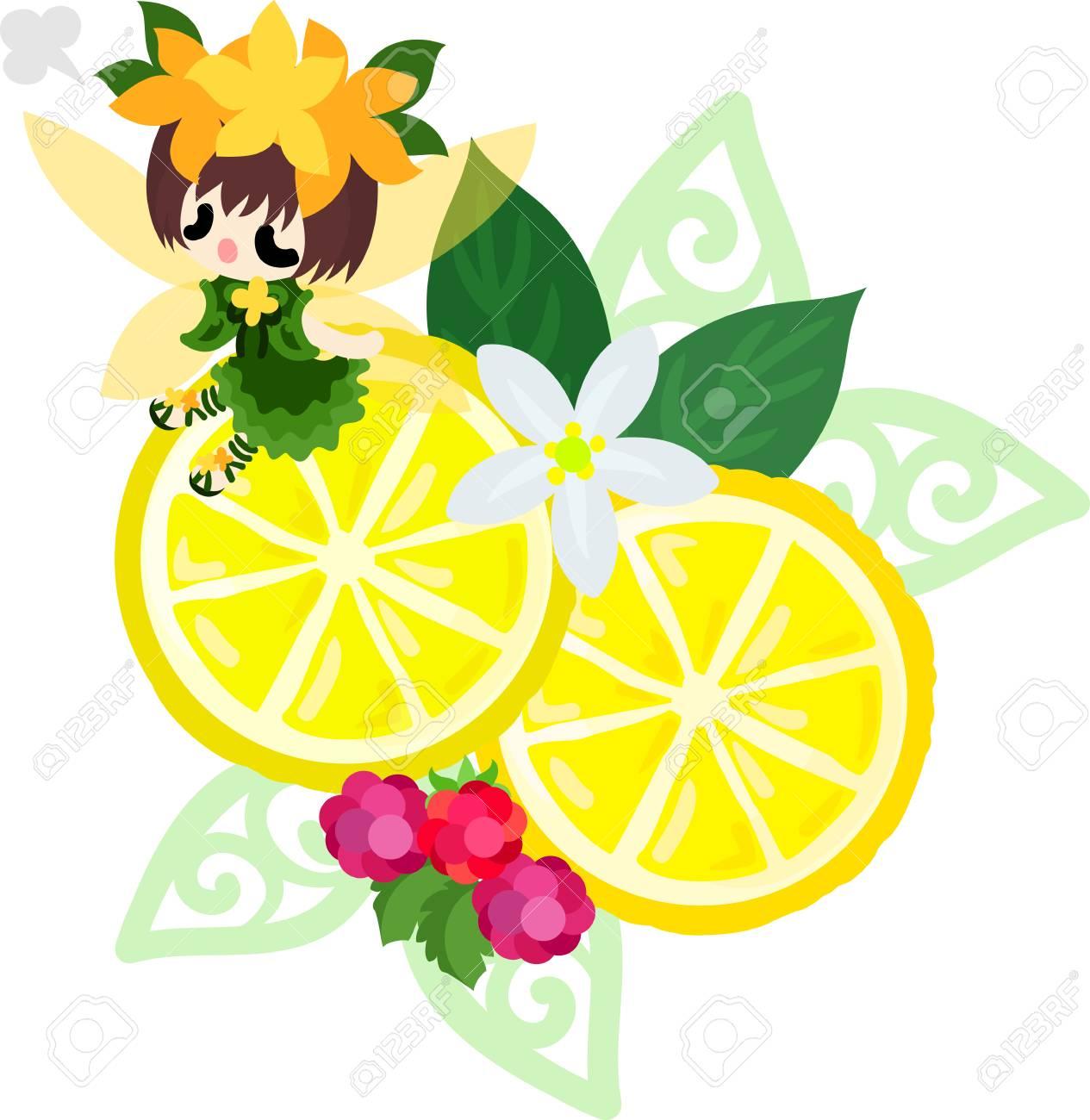 かわいい妖精とレモン飾りのイラストのイラスト素材ベクタ Image
